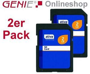 2x-Ativa-2GB-SD-Karte-NEU-OVP-Memory-Card-Speicherkarte-Doppelpack-2-GB-Speicher