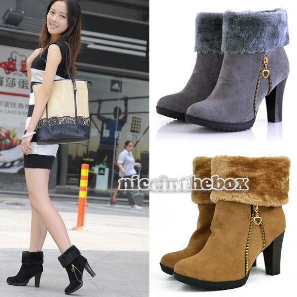 Fashion Women Mid-calf High Heel Warm Winter Snow Short Boots Shoes N98B