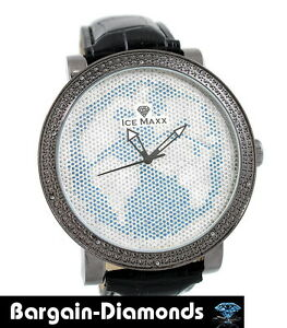 Black-Diamond-mens-big-gunmetal-World-Map-Watch-White-blue-ice-out-master-maxx