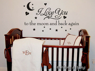 Wall Quote Vinyl Decal Stickers Kids Nursery Art Decor~ I LOVE YOU TO THE MOON