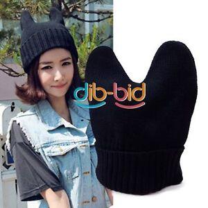 Korea-Women-Lovely-Knit-Cat-Ear-Ox-Horn-Beanie-Warm-Hat-Cap