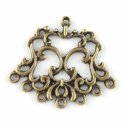 20x 143190 New 8 Loops Flower Charm Bronze Alloy Connector Pendants Findings