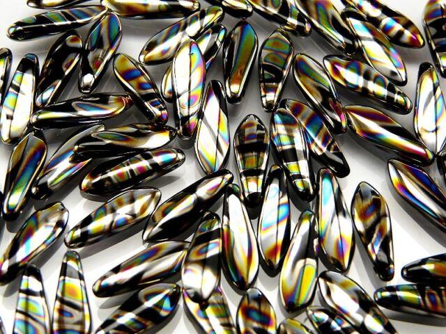 30pcs Dagger Beads Czech Glass Pressed 5x16mm JET ZEBRA VITRAIL (MKJ021)