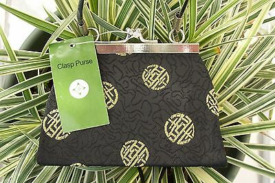 Brand New Small Clasp Purse/Handbag~Black & Gold Asian Silk Print~NWT~ Adorable