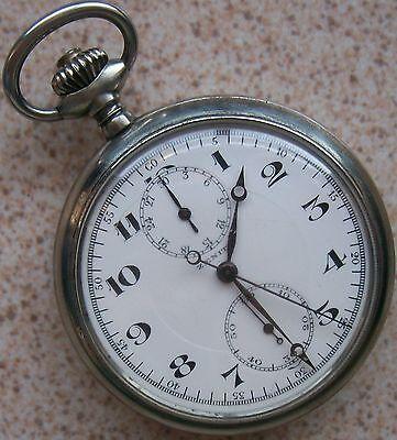 Zenith Chronograph Pocket Watch Open Face 52,5 mm. in diameter enamel dial