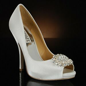 Badgley Mischka Lissa White Satin Wedding Bridal Open-Toe Pumps ...