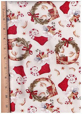 Christmas Beige Small Stockings by David Textiles bty PRICE REDUCED