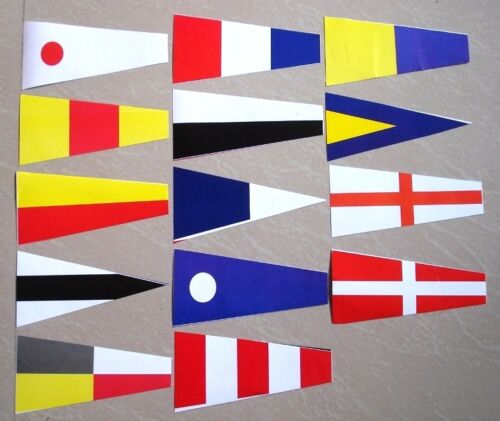 """15/"""" to 19/"""" L Nautical Signal Pennant Flags Set of 14 Pennants Cotton//Poly"""