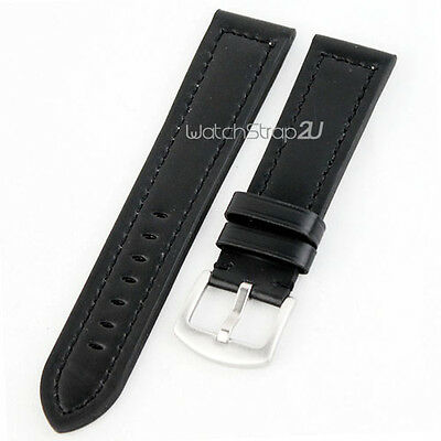 Black Smooth Matt Leather Watch Band Strap Wide Clasp Hole for Big Watch