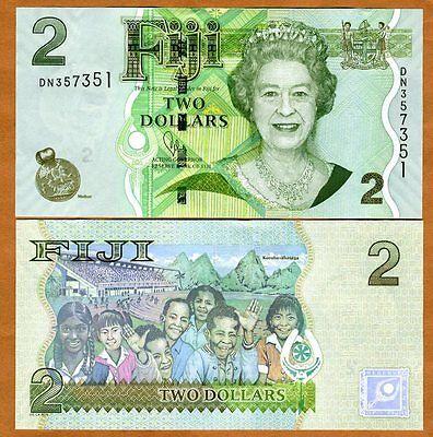 FIJI, 2 dollars, 2007 (2011), Pick 109 (109b), QEII, UNC > New title and sig.