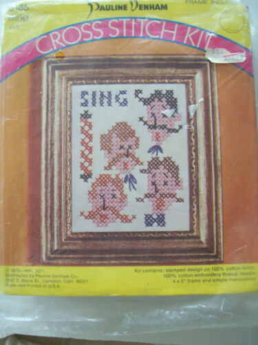 Vintage 1973 Cross Stitch Kit #6165 PLUS Frame Barber Shop Quartet Sing Singing