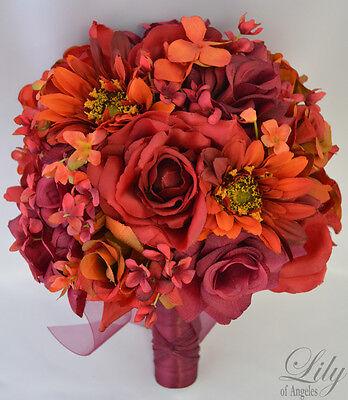 17pcs Wedding Bridal Bouquet Silk Flower Decoration Package APPLE RED ORANGE