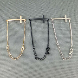 Silver-Gold-tone-Black-Metal-Simple-charm-Cross-Bracelet