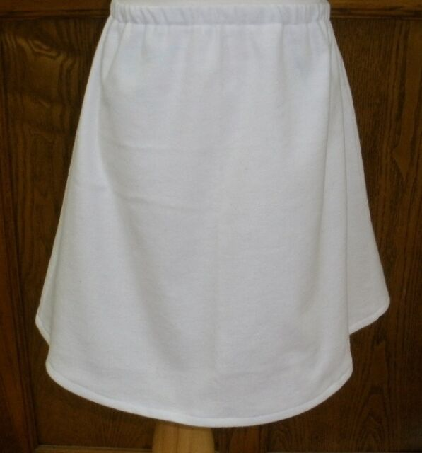 CUSTOM Ladies & PLUS sizes white cotton flannel HALF slip long full no slits NeW