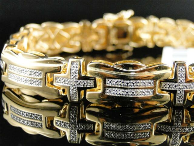 Mens Yellow Gold Finish and Genuine Pave Set Diamond Bracelet 9 Inch 11 MM