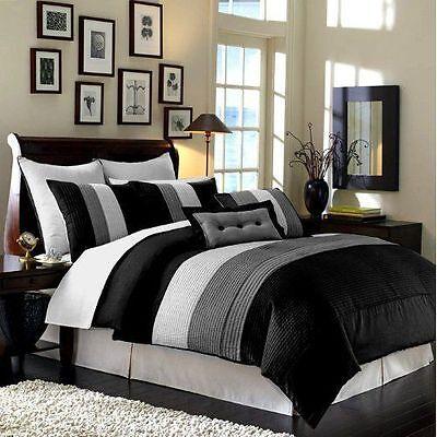Luxury Stripe Bedding Black Grey and White  King Size 8 Piece Comforter Set