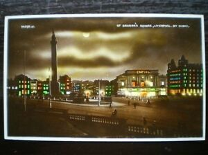 POSTCARD-RP-LANCASHIRE-LIVERPOOL-ST-GEORGES-SQUARE-BY-NIGHT