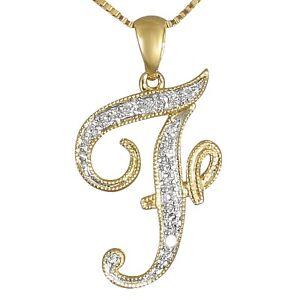 "LETTER ""F"" SCRIPT DIAMOND INITIAL 14K YELLOW GOLD REGULAR ..."