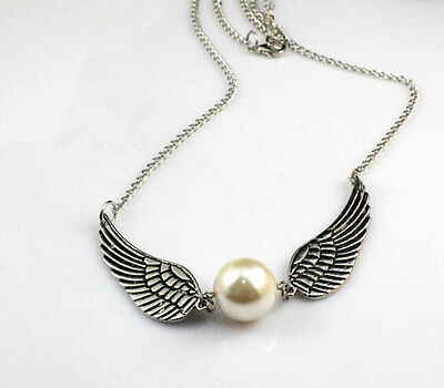 Harry potter Golden Snitch necklace, Silver Double sided angel wings necklace