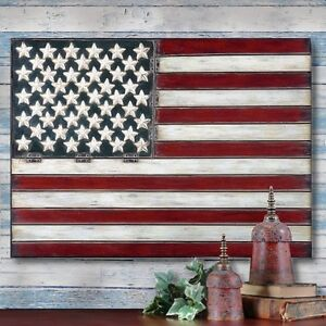 Image is loading AMERICAN-FLAG-Folk-Art-METAL-WALL-ART-PANEL-