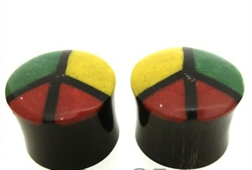 PAIR 00G CRUSHED BONE PEACE SIGN & HORN PLUGS 10MM