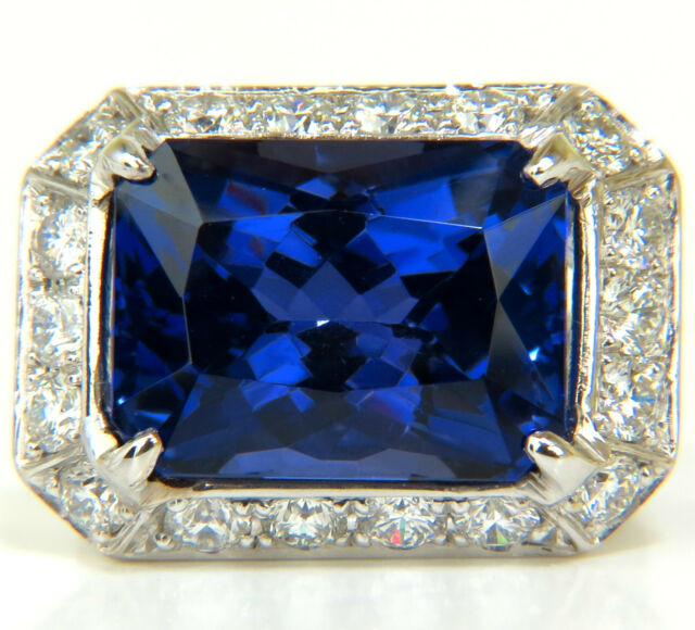 █$33,000 GIA 15.06CT 18KT NATURAL TANZANITE DIAMOND RING A+ D-BLOCK COLOR█