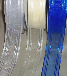 5-yards-ORGANZA-w-SATIN-STRIPES-RIBBON-1-1-2-034-wide-your-choice-of-3-colors