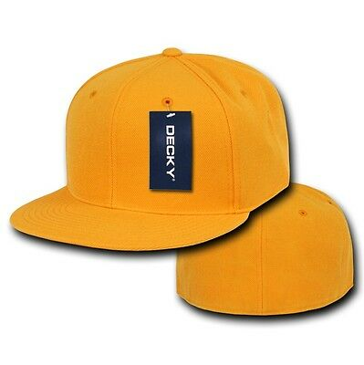 Gold Yellow Fitted Flat Bill Plain Solid Blank Baseball Ball Cap Caps Hat Hats