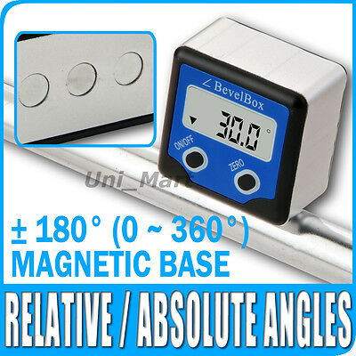 Digital Bevel Box Inclinometer Angle Gauge Meter Protractor Finder Magnetic Base