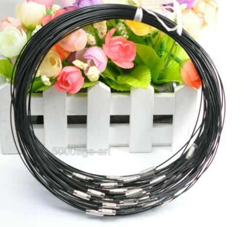 20/50/100pcs Stainless Wire Cable 1MM Steel Chain Cord Necklace Charms