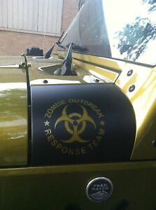Jeep Wrangler Seat Covers >> Jeep jk Wrangler Zombie Outbreak Response Team cowl cover wrap | eBay