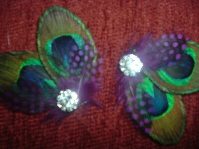 PEACOCK FEATHERS with Guinea Accent choice with Diamante Crystals Hair Clip