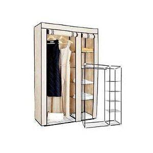 BIG-SALE-Brand-New-Portable-Steel-Tube-Canvas-Clothes-Wardrobe-CREAMY