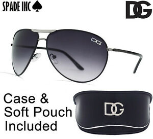 DG-Designer-AVIATOR-Sunglasses-High-Fashion-BLACK-With-DG-CASE-amp-Soft-Pouch-NEW