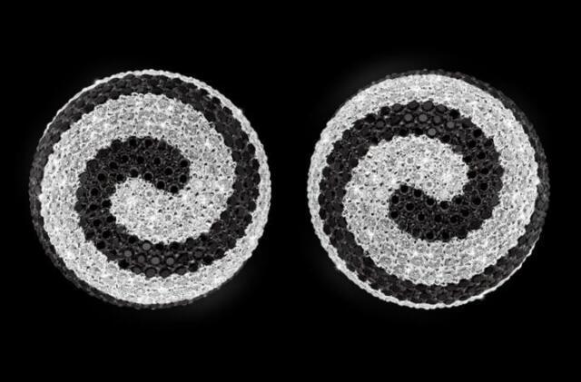 14k White Gold Black and White Diamond Esprit Pave Earrings