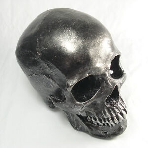 Handmade 1:1 Black Human Head Skull Resin Replica Decoration Collectibles