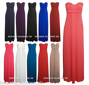 WOMEN-039-S-FULL-LENGTH-BANDEAU-LADIES-KNOT-MAXI-DRESS-IN-ALL-COLOURS-SIZE-S-M-amp-M-L