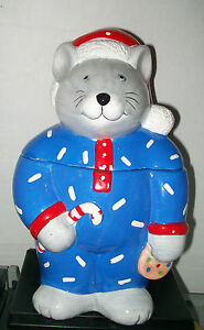 Christmas-Mouse-Cookie-Jar-Candy-Cane-Blue-Pajamas-Coco-Dowley-Certified-CUTE