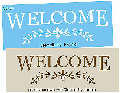 Joanie Stencil Welcome French Fleur Laurel Wreath Leaves Border Door Wall Art