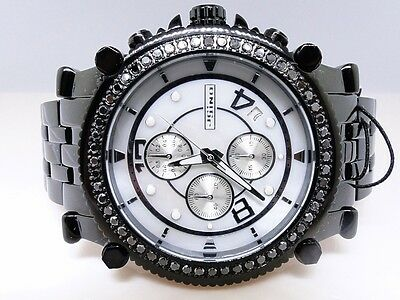 2.25 Ct New Mens Jojo/Jojino/Joe Rodeo Metal 56 Black Diamond Watch Mj-1172C