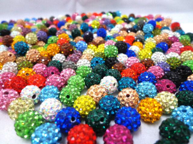 wholesale 100pcs color mix Crystal 10MM Disco Ball Shamballa Rhinestone beads A+