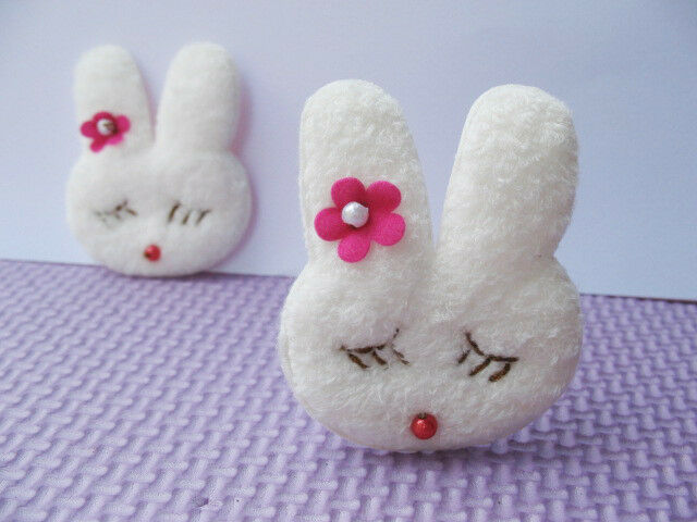 20 Big Padded Furry Bunny w/Flower Applique Craft-White