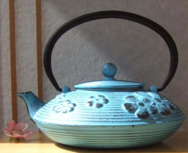 Cast Iron Teapot  light blue Spring Flower design 0.8L