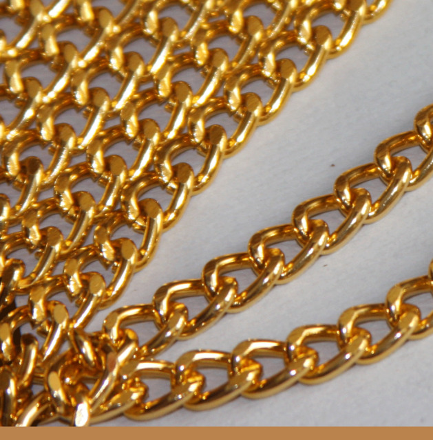 5 ft Gold Aluminum Curb Open Link Chain 7X10mm