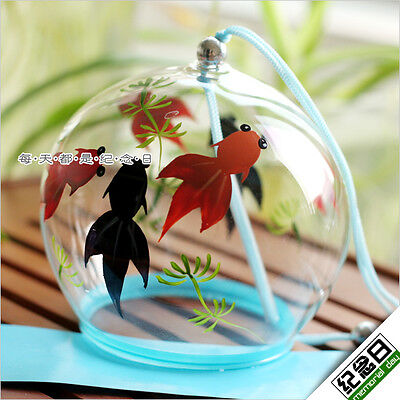 JAPANESE Traditional Culuture Glass Furin wind Bell wind Chime six fish