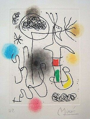 "JOAN MIRO Hand Signed 1968 Color Etching & Aquatint - ""Midi le trèfle blanc"""