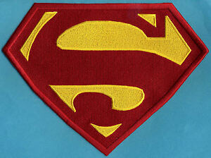 7-034-x-10-034-Large-Red-amp-Yellow-Fully-Embroidered-Superman-Chest-Logo-Patch