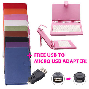 7-Tablet-Mini-Keyboard-Case-Stand-Leather-Cover-USB-2-0-Micro-USB-Adapter-F-M