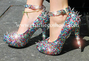 CHARLIE-CO-Pop-Punk-Multi-Colour-Crystal-Heels-Spiked-Studded-Rhinestone-Bling