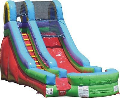 New Commercial 15' Water Slip 'N Slide Bounce House Slides & Blower Tentandtable